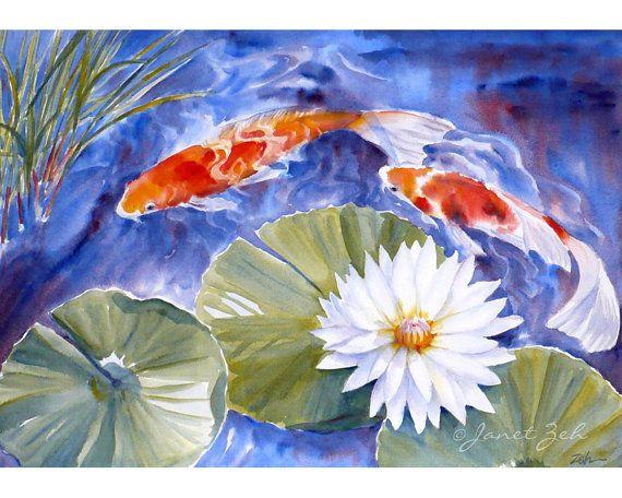 Koi fish painting waterlily pond original watercolor for Koi fish pond art