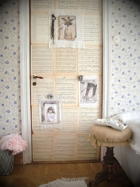 Love the sheet music covered door of the studio of Agnes Shabby Chic
