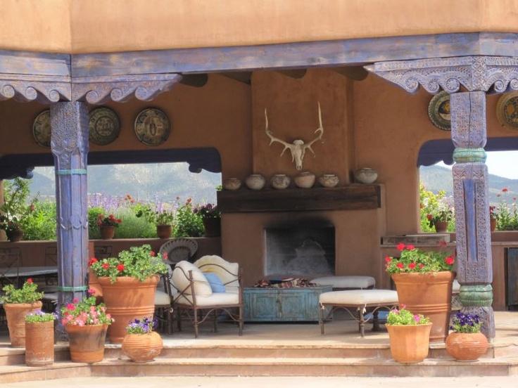 Santa fe style terrace with pillars southwest pinterest for Santa fe decorations home