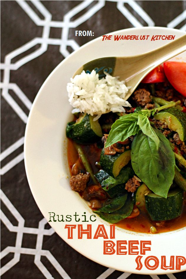 How to make an easy 30-minute Rustic Thai Beef Soup  - use whatever vegetables you have on hand! from {www.TheWanderlustKitchen.com}