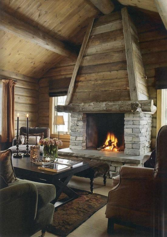 Log cabin sitting room cabin fever pinterest for Log home fireplaces