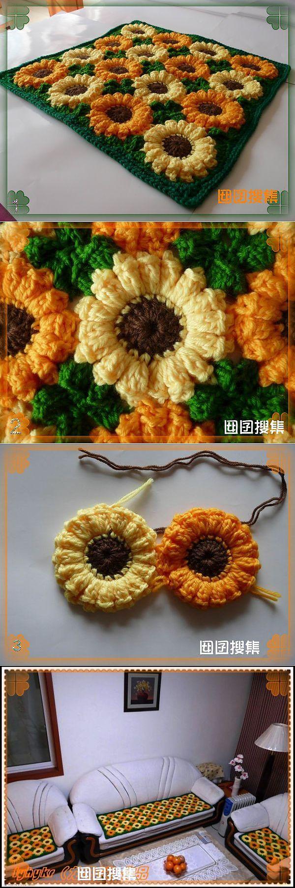 Коврик из объемных цветов крючком мастер класс