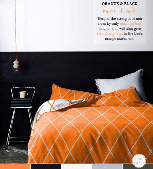 Black and orange bedroom decor apartment living pinterest - Orange and black room decor ...