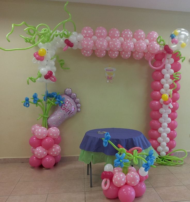 Baby shower balloon arch balloons pinterest for Baby shower decoration ideas with balloons