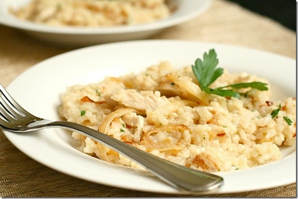 Herbed Risotto with Chicken and Caramelized Onions.