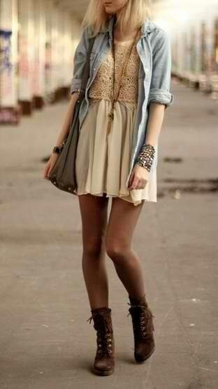 Denim, chiffon skirt