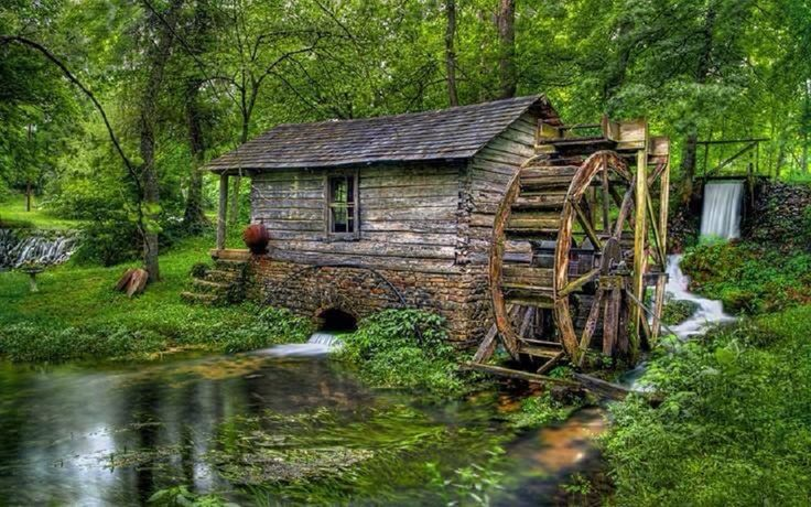 Old log cabin mill water houses cabins pinterest for Mill log