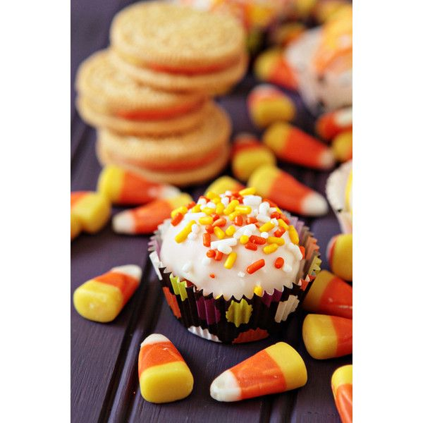 Candy Corn Oreo Truffles liked on Polyvore