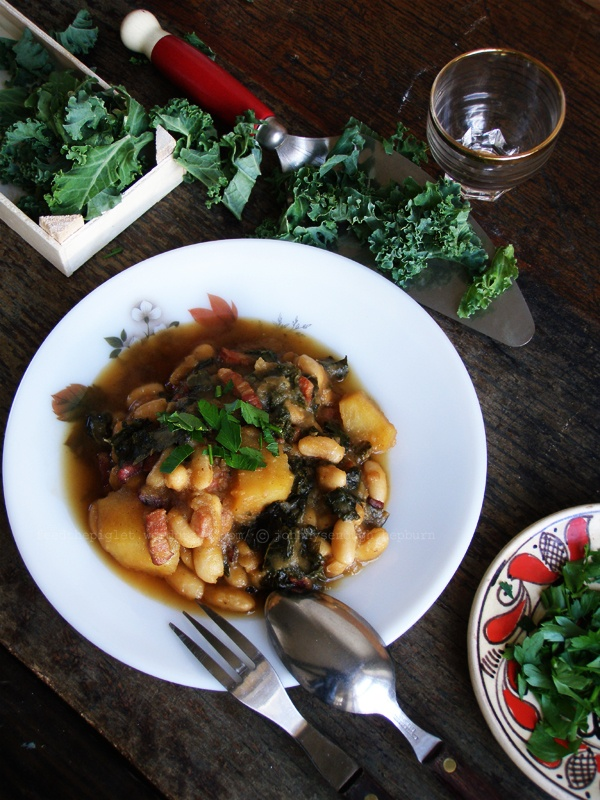 Cannellini bean stew with kale, pancetta, potatoes and flat leaf ...