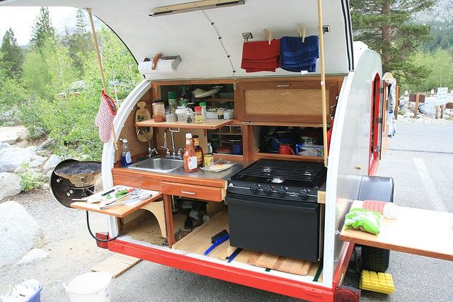 Pin by singing pines on outdoor cooking pinterest for Teardrop camper kitchen ideas