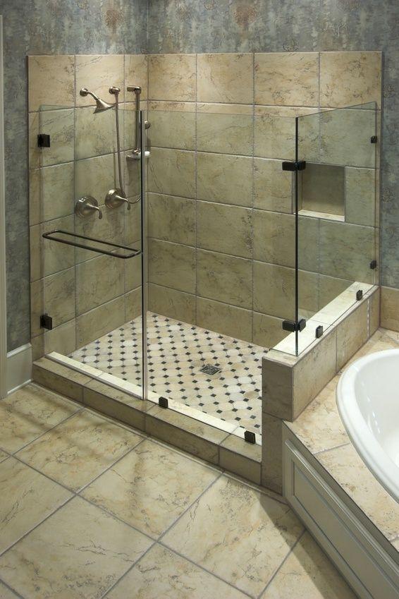 Walk in shower & corner tub | For the Home | Pinterest