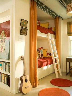 built in bunk beds- love the shelves at the end