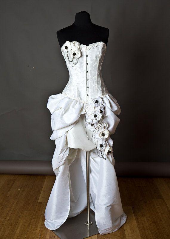Size large ivory steampunk burlesque corset wedding gown for Steampunk corset wedding dress