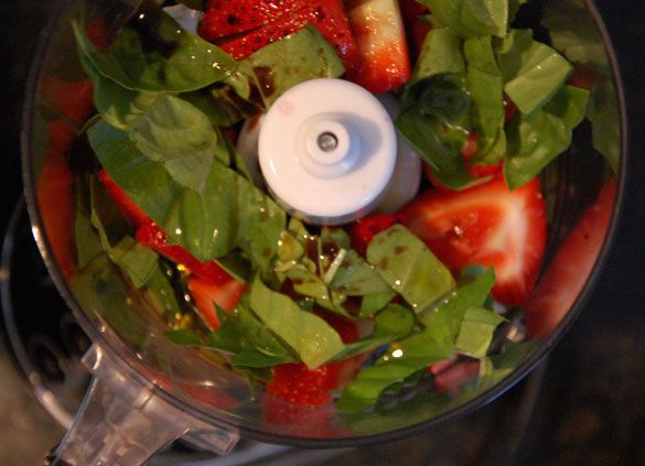 Strawberry basil salad dressing..I added a little honey and virgin ...