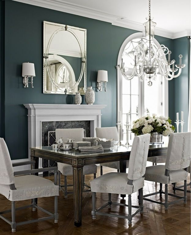 Grey decor to the windows to the walls pinterest for Formal dining room ideas colors
