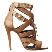 Open Toe Ankle Bootie with Buckle Detail - brian atwood