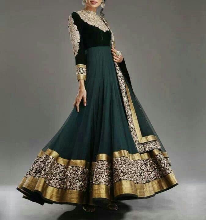Black floor length anarkali all about indian dresses for Floor length anarkalis
