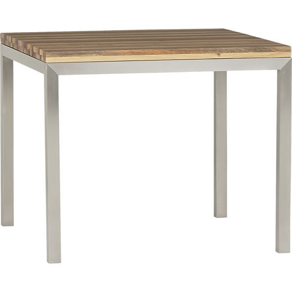 Reclaimed Wood Top 36 Sq Dining Table With Stainless Steel Base