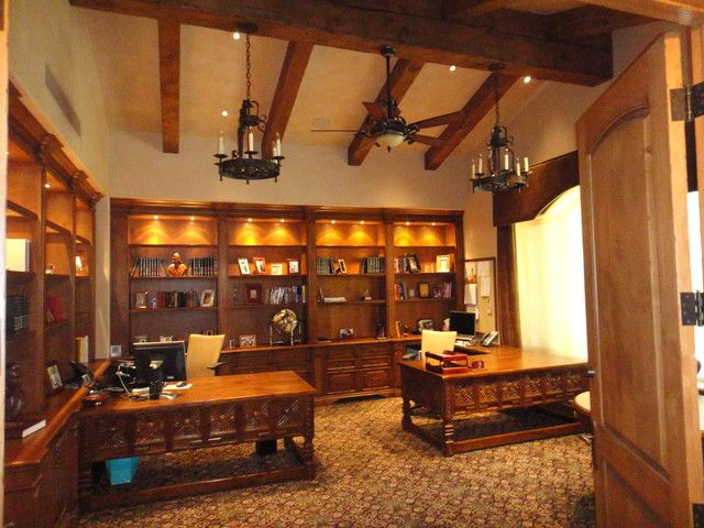 Office with built ins and beam ceilings | Mediterranean House ideas ...