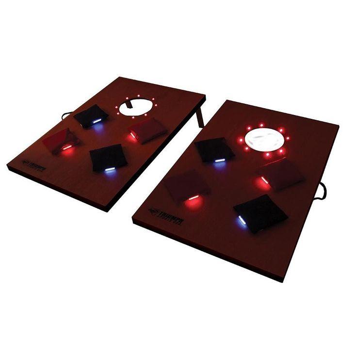 New led light up bean bag night cornhole toss game set portable outdo