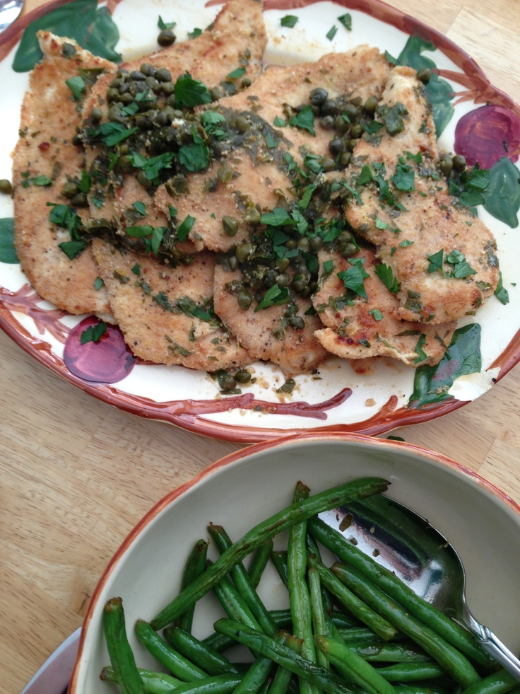 ... sauteed chicken cutlets with asparagus spring onions and parsley