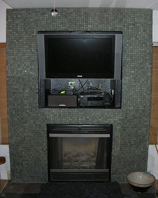 Mixed Silver Glimmer Glass Tile Fireplace