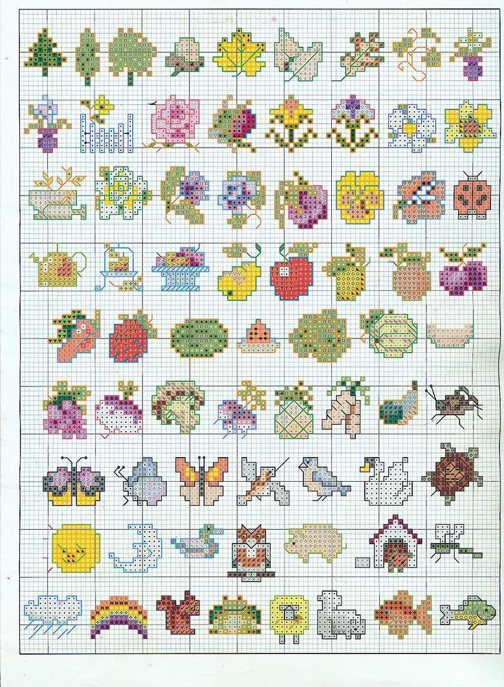 Схема вышивки крестом с маленькими картинками