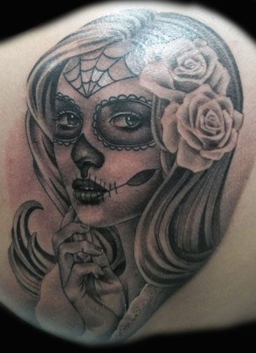 Sugar Skull Tattoo Black And Grey #muerte skull #black/grey