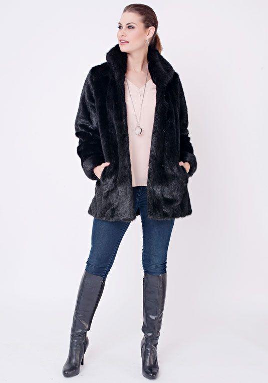 Black Mink Faux Fur Classic Jacket