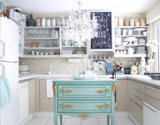 aqua blue kitchen island!!!  Dwelling Place  Pinterest