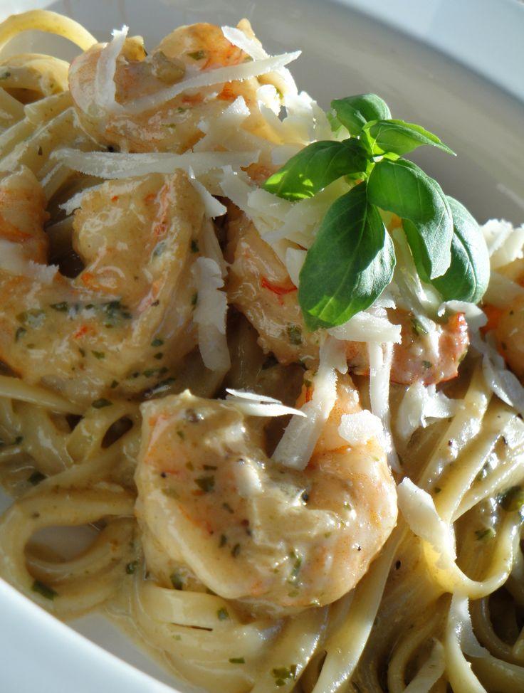 Shrimp Linguine Creamy Pesto Sauce. Leftover shrimp from pre-dinner ...