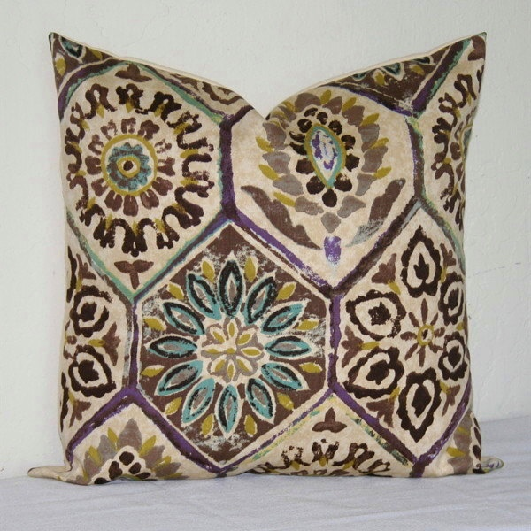 Beige Purple Turquoise and Brown Lumbar 12x18 inch Decorative Pillows Accent Pillows Throw ...