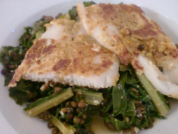 almond crusted cod on a bed of French lentils and sauteed kale and ...