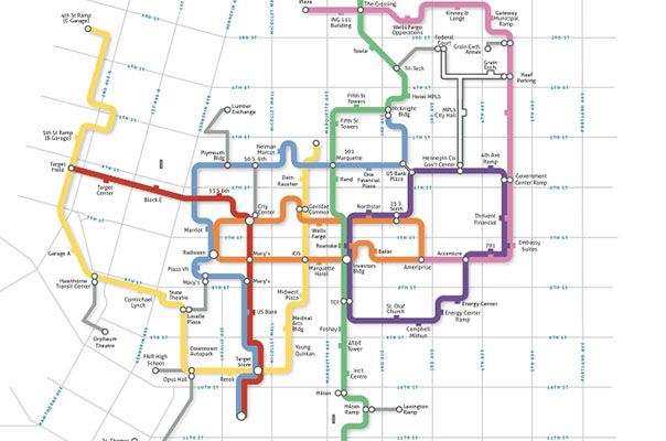 Carticulate  Minneapolis Skyway Map  Favorite Places