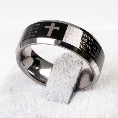 new men laser black cross bible tungsten carbide wedding