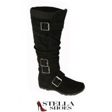 Dezigner Dudz Black Tall Boot w/Buckles