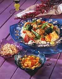 Curried Chicken & Vegetables with Rice Photo