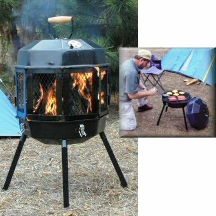 Portable Fire Pit Grill Wood Burner Outdoor Fire Place Camping Cook