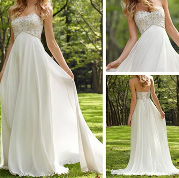 White Ivory Chiffon Beaded Long Bride Maternity Wedding