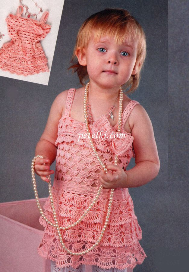 Вязание крючком для детей платья сарафаны видео