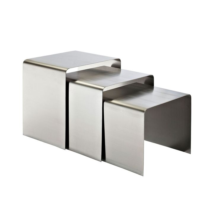 Steel Table : Silver Stainless Steel Nesting Tables  dotandbo.com