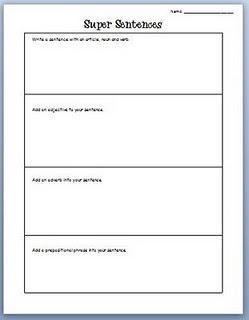 super sentences worksheet writing and oral story telling pinterest. Black Bedroom Furniture Sets. Home Design Ideas