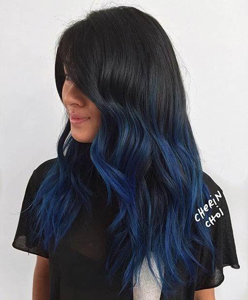 Blue dip dyed hair on