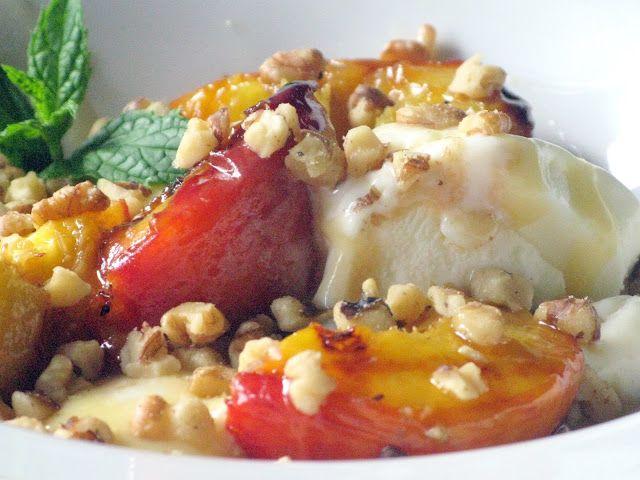 ... : Honey Butter Grilled Peaches with Honey Caramel Frozen Yogurt