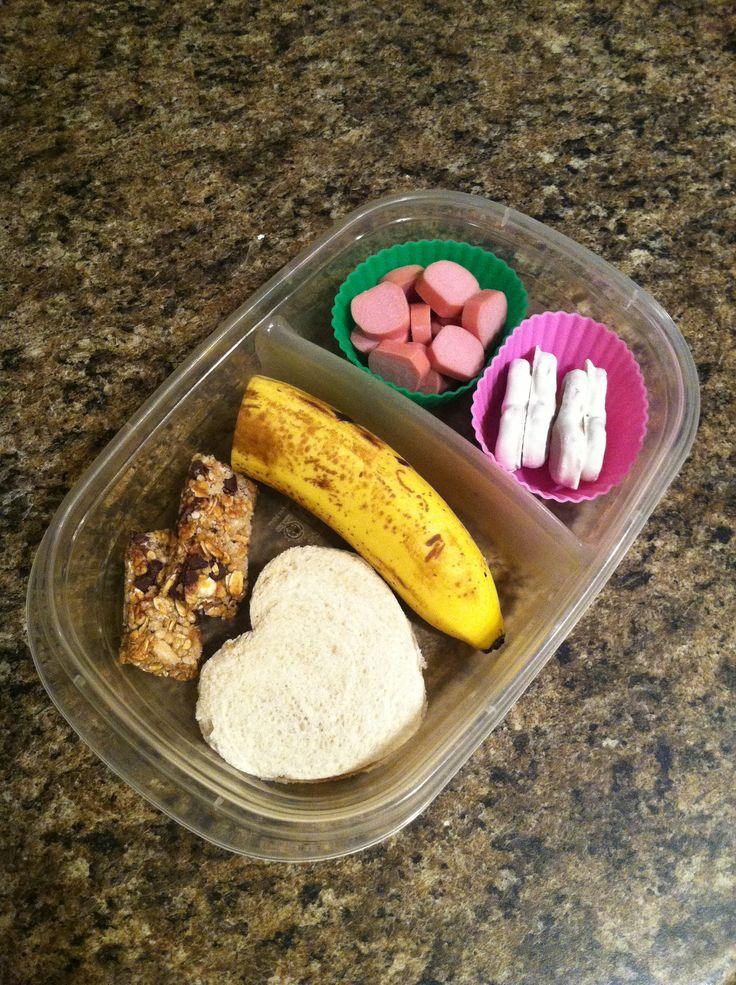 ... cut turkey dog, pb&j sandwich, banana, granola bar, & yogurt pret...