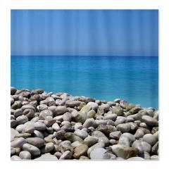 Ocean and pebbles shower curtain a tranquil beach scene 45 99