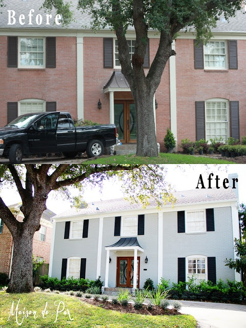 Painted brick transforms this home before after for Painted brick houses before and after pictures