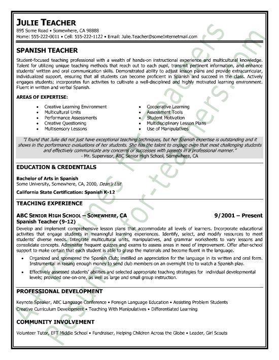 examples of teacher resumes teacher resume english teacher resume sample 45 best teacher resumes images on pinterest teaching resume - Middle School Teacher Resume Examples