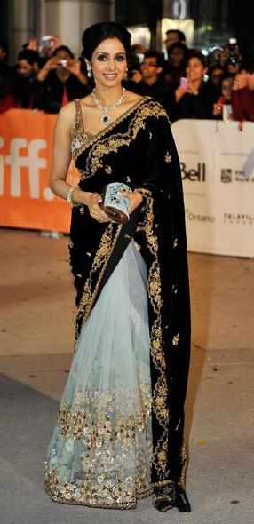 Sridevi in Sabyasachi Mukherjee - Lace Tulle & Black Velvet Saree
