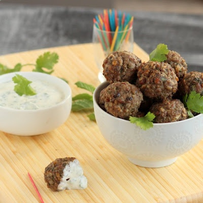 Kid Cultivation: Lamb and Lentil Mini-Meatballs with Cumin Yogurt Dip